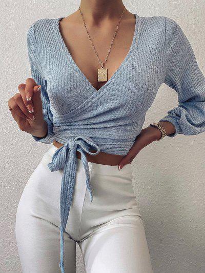 Knit Long Sleeve Wrap Top - Blue S