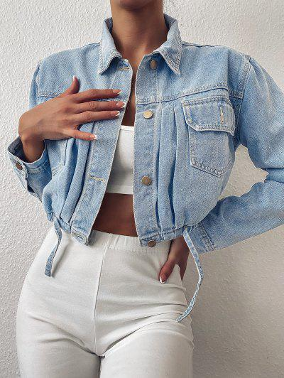 Cropped Drawstring Hem Denim Jacket - Light Blue S
