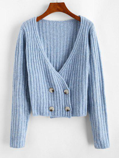 Low Cut Double Breasted Cardigan - Blue