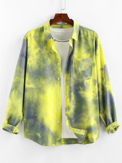 ZAFUL Tie Dye Print Long Sleeve Pocket Shirt - Yellow S