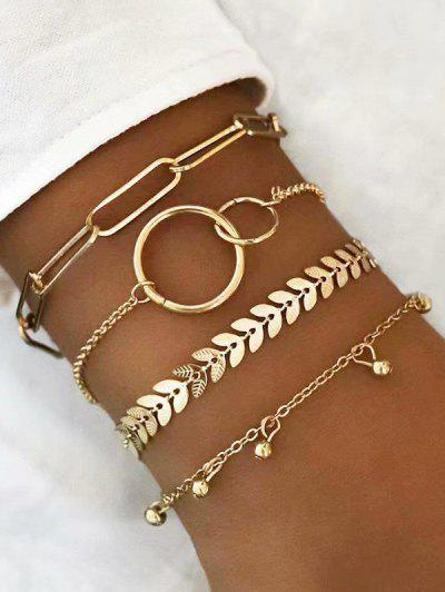 4 Pcs Leaves Circle Shape Bracelets Set - Golden