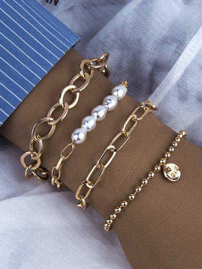 4 Pcs Faux Pearl Disc Shape Bracelets Set - Golden
