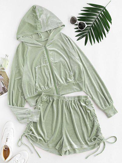 Velour Cinched Two Piece Shorts Set - Light Green S