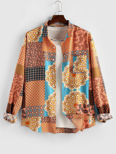 ZAFUL Paisley Flower Patch Print Long Sleeve Shirt - Deep Yellow L