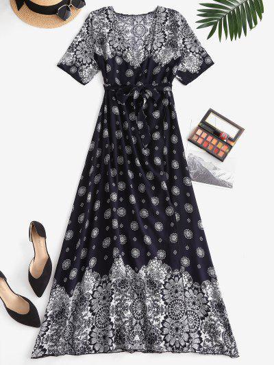 Bohemian Printed High Slit Maxi Surplice Dress - Deep Blue