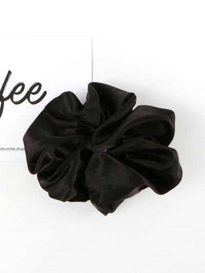 Solid Satin Fabric Scrunchie - Black