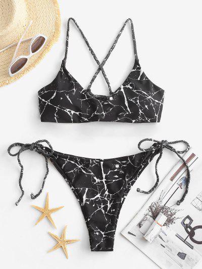 ZAFUL Maillot De Bain Bikini à Bretelle Tressée Croisé Marbre Imprimé - Multi M