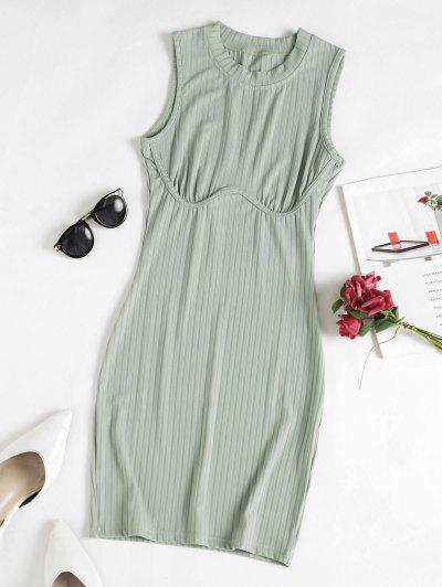 Ribbed Underbust Design Bodycon Dress - Greenish Blue M
