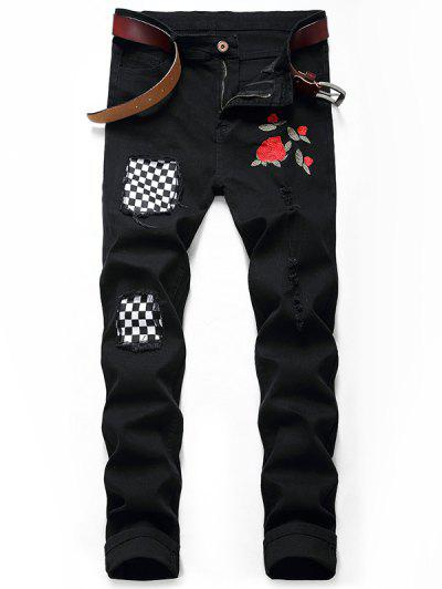 Embroidery Flower Patchwork Ripped Long Jeans - Black 34