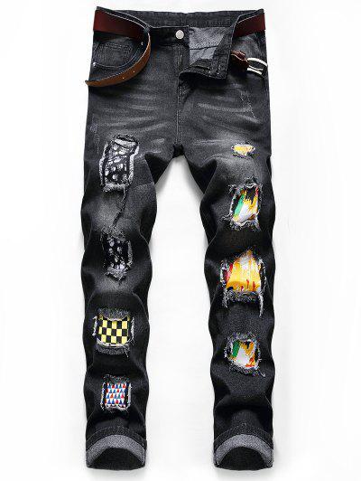 Skull Paint Patchwork Scratch Long Jeans - Black 36