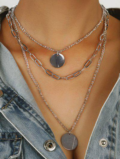 Discs Shape Layered Pendant Necklace - Silver