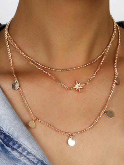 Star Disc Pattern Layered Necklace - Golden
