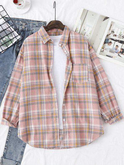 Plaid Drop Shoulder Pocket Shirt - Light Pink Xs
