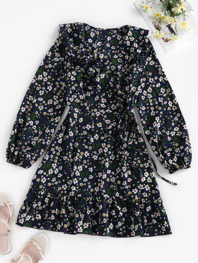 ZAFUL Ditsy Print Ruffle Wrap Dress - Deep Blue L