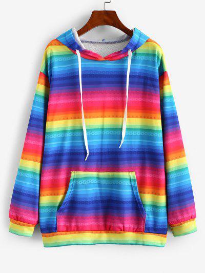 Kangaroo Pocket Drawstring Rainbow Stripes Hoodie - Multi-b L