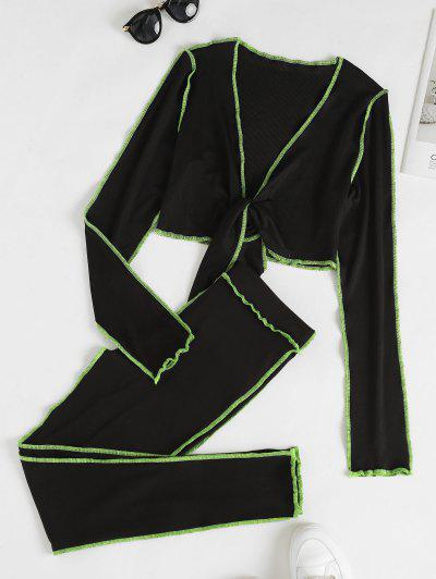 Tie Front Neon Topstitching Top And Pants Set - Black S
