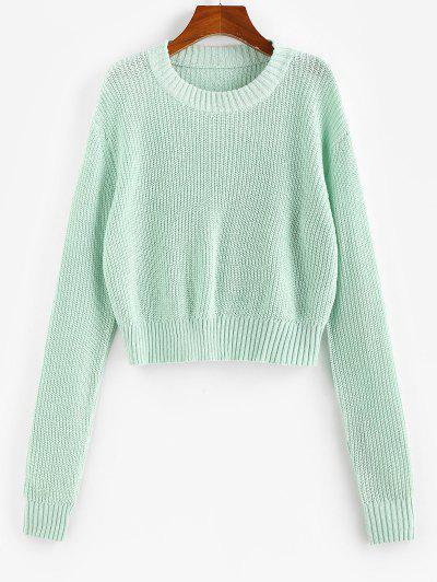 ZAFUL Drop Shoulders Crop Sweater - Light Green L