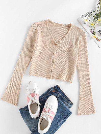 ZAFUL Flare Sleeve Cropped Cardigan - Light Coffee M