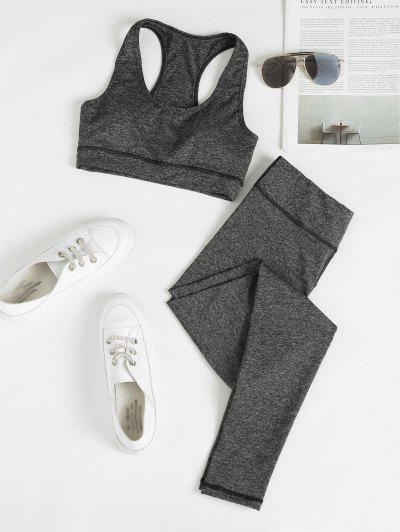 Heathered Space Dye Racerback Padded Gym Suit - Dark Gray M