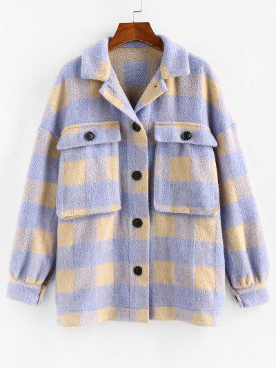 ZAFUL Checkered Drop Shoulder Pocket Coat - Light Purple M