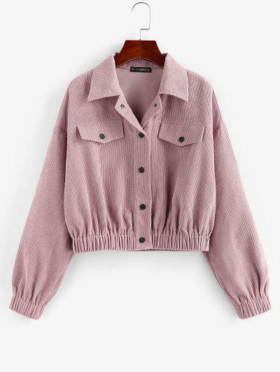ZAFUL Flap Detail Corduroy Short Jacket - Light Pink M