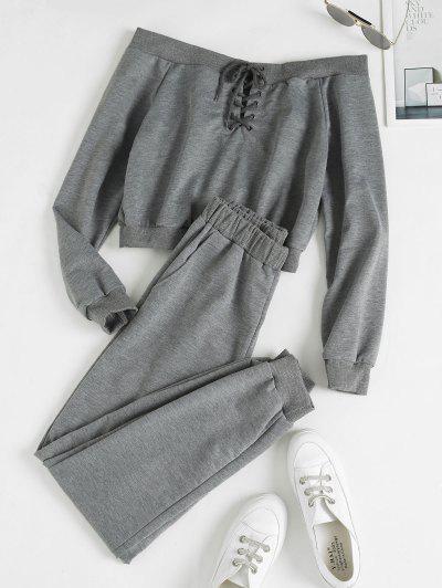 Off Shoulder Lace Up Pocket Jogger Pants Set - Gray L