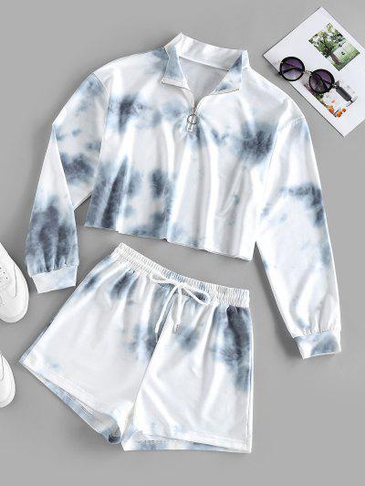 ZAFUL Tie Dye Half Zip Two Piece Set - White L
