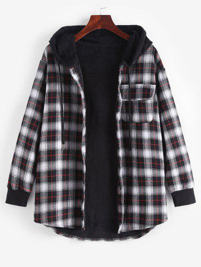 Plaid Button Up Pocket Hooded Coat - Black Xl