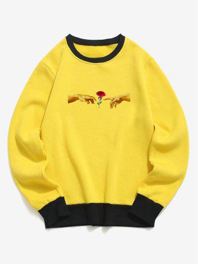 Hand And Rose Print Colorblock Fleece Sweatshirt - Yellow Xl