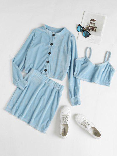 Plush Button Up Bodycon Skirt Set - Silk Blue S