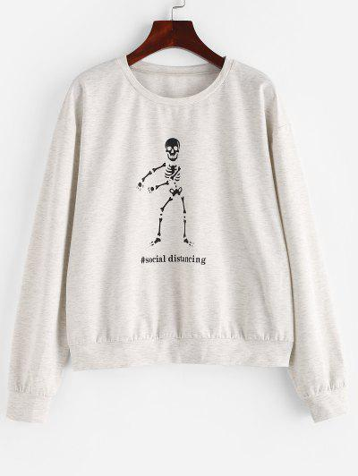 ZAFUL Space Dye Halloween Skeleton Graphic Sweatshirt - Platinum S