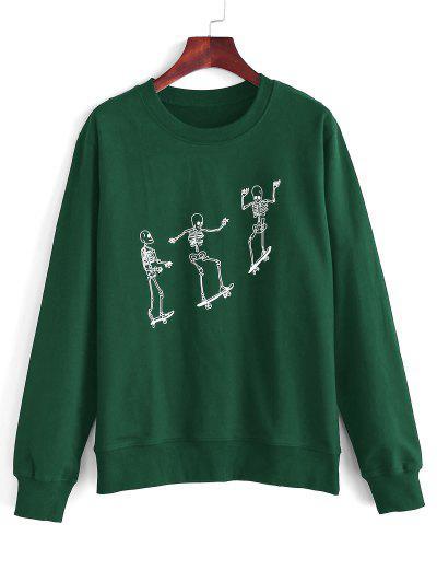 Skeleton Skateboard Print Sweatshirt - Deep Green S