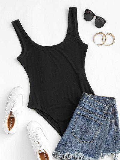 ZAFUL Rib Knit Low Scoop Bodysuit - Black L