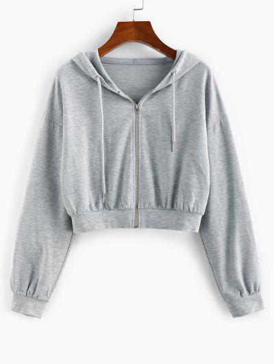 ZAFUL Drop Shoulder Hooded Crop Jacket - Ash Gray S