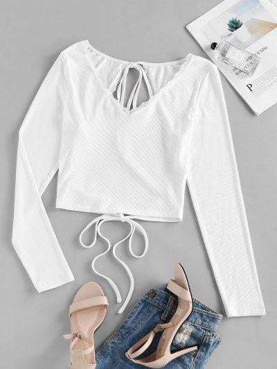 ZAFUL Lace Insert Open Back Ribbed T-shirt - White S