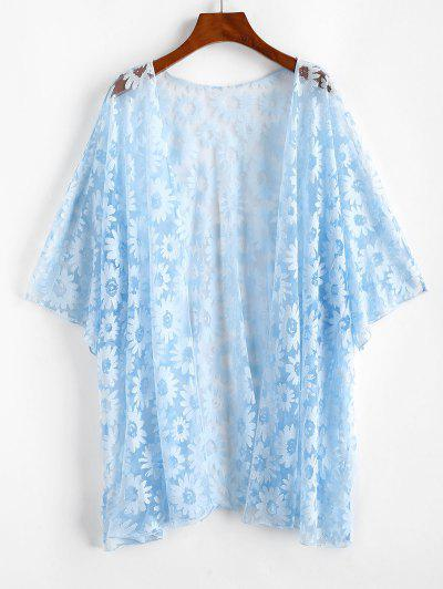 Plus Size Floral Mesh Cover-up Kimono - Light Blue 1xl