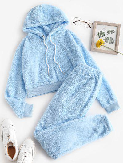 Lounge Fuzzy Two Piece Hoodie And Pants Set - Light Blue M