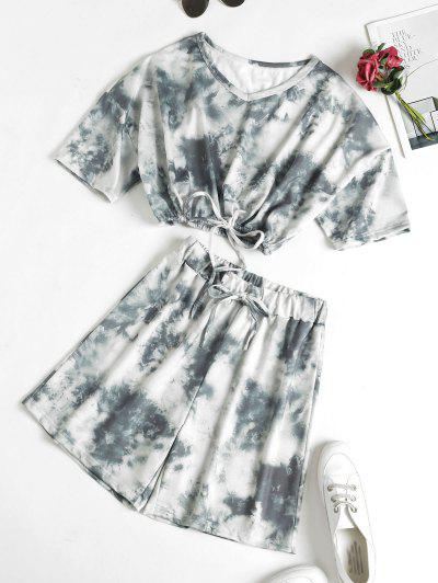 Tie Dye Drop Shoulder Drawstring Bermuda Shorts Set - Gray S