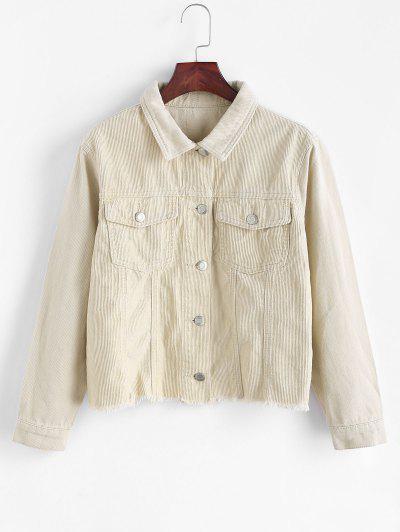 Frayed Hem Pocket Corduroy Denim Jacket - Light Yellow Xl