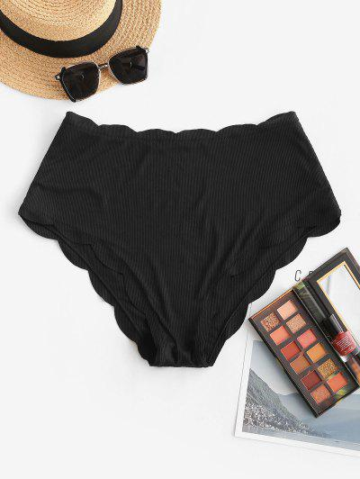 ZAFUL Bikini Bottom Festoneado De Cintura Alta - Negro Xxl
