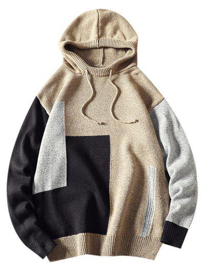 Hooded Contrast Drawstring Pullover Sweater - Light Yellow Xs