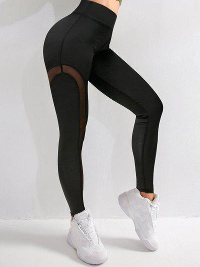 Mesh Panel Topstitch High Waisted Gym Leggings - Black M