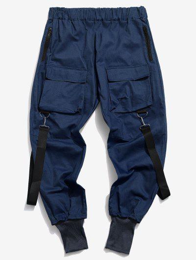 Calças Casual De Zíper De Multi-bolsos - Azul Escuro Xs