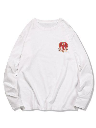 T-shirt Décontracté Graphique Aigle à Col Rond - Blanc 2xl