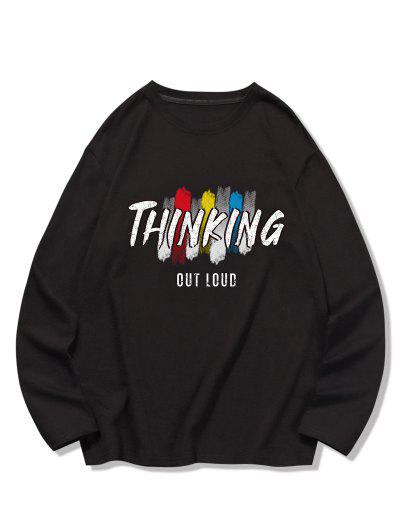 THINKING Letter Printed Long Sleeves T-shirt - Black S