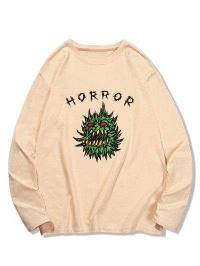 Horror Graphic Pattern Long Sleeve T-shirt - Champagne S
