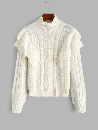 Layered Ruffles Cable Knit Pompoms Sweater - White
