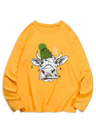 Long Sleeves Animal Printed T-shirt - Golden Brown Xl
