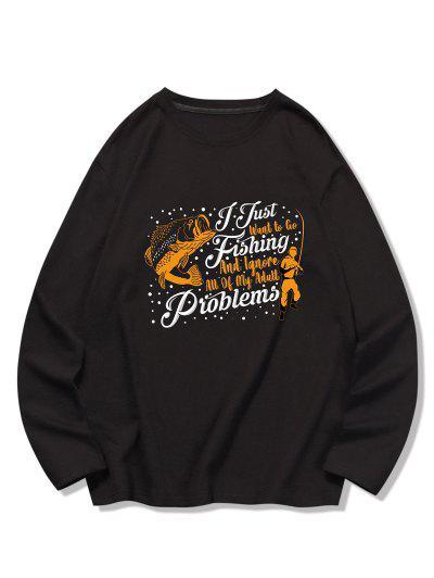 T-shirt Poisson Graphique Imprimé à Manches Longues - Noir M