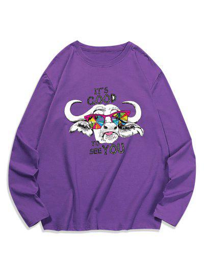 Cool Cattle Graphic Crew Neck Casual T Shirt - Purple Iris Xl